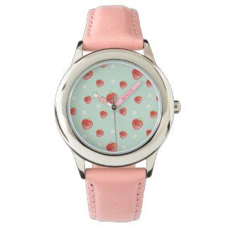 かわいいいちごおよび花 腕時計