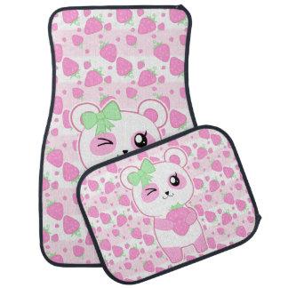 かわいいいちごのピンクのかわいいのパンダくま カーマット