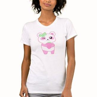 かわいいいちごのピンクのかわいいのパンダくま シャツ