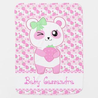 かわいいいちごのピンクのかわいいのパンダくま ベビー ブランケット