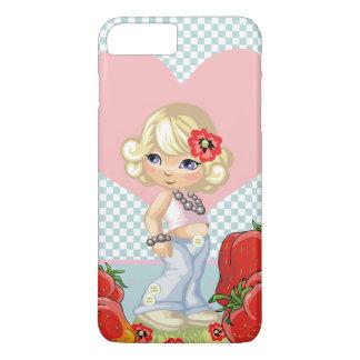 かわいいいちごを持つかわいいの女の子非常に iPhone 8 PLUS/7 PLUSケース