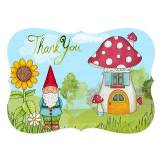 かわいいおとぎ話の小妖精や小人の格言およびきのこは感謝していしています カード