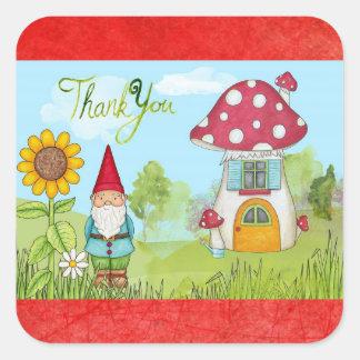 かわいいおとぎ話の小妖精や小人の格言はステッカー感謝していしています スクエアシール