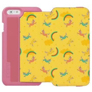かわいいおもしろいのユニコーンの虹の黄色の漫画パターン INCIPIO WATSON™ iPhone 6 ウォレットケース