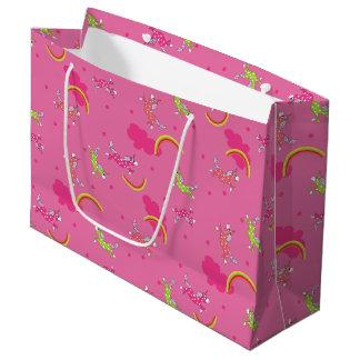かわいいおもしろいのユニコーンの虹ピンクの漫画パターン ラージペーパーバッグ