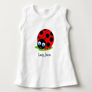 かわいいおもしろいの漫画の黒くおよび赤いてんとう虫/てんとう虫、 ドレス