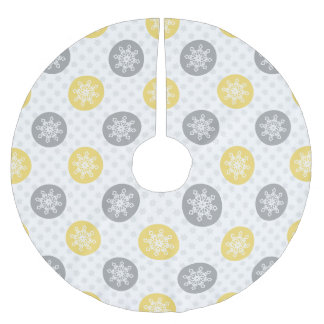 かわいいおもしろいの黄色の灰色の雪片の木のスカート ブラッシュドポリエステルツリースカート