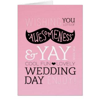 かわいいおもしろい愛髭の結婚式の招待状 カード