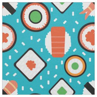 かわいいおもしろい継ぎ目が無いピクセル寿司の漫画パターン ファブリック