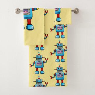 かわいいおもちゃのロボット バスタオルセット