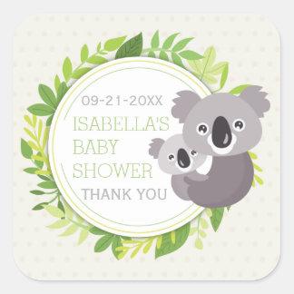 かわいいお母さんのコアラ及び赤ん坊のコアラのベビーシャワー スクエアシール