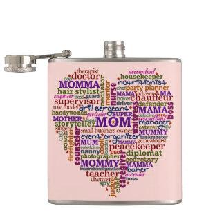 かわいいお母さんの母の日の単語の芸術のハートのタイポグラフィ フラスク
