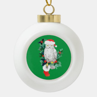 かわいいお祝いのクリスマスのフクロウのストッキングおよび木 セラミックボールオーナメント