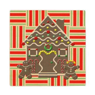 かわいいお菓子の家の女の子及び男の子のクリスマス ウッドコースター