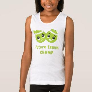 かわいいかわいいのおもしろいの緑のテニス・ボールの漫画の子供 タンクトップ