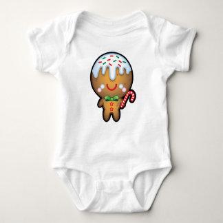 かわいいかわいいのジンジャーブレッドマンのクリスマスの赤ん坊は育ちます ベビーボディスーツ