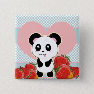 かわいいかわいいのパンダのいちご 5.1CM 正方形バッジ