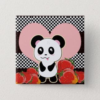 かわいいかわいいのパンダ 5.1CM 正方形バッジ