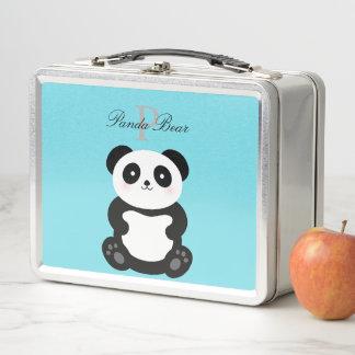 かわいいかわいいのベビーのパンダくまのお洒落なモノグラム メタルランチボックス