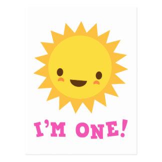 かわいいかわいいの太陽のマンガのキャラクタ私は1才です ポストカード