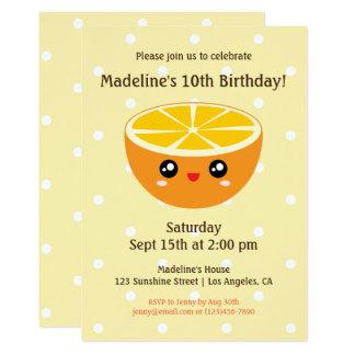 かわいいかわいいの幸せな顔のオレンジ子供の誕生日のパーティー カード