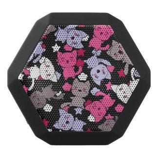 かわいいかわいいの落書き猫3が付いているパターン ブラックBluetoothスピーカー