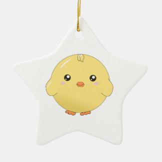 かわいいかわいいの黄色いひよこのオーナメント(星かハートまたは等) セラミックオーナメント