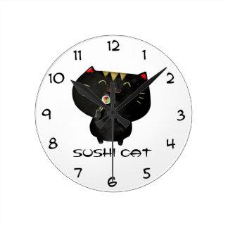 かわいいかわいいの黒い寿司猫 ラウンド壁時計