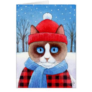 かわいいかんじきの樵猫のクリスマスの冬カード カード