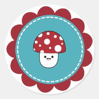 かわいいきのこ菌類 ラウンドシール