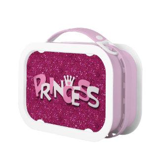 かわいいきらめくショッキングピンクのプリンセスのグリッター ランチボックス