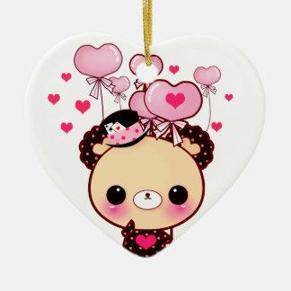 かわいいくまおよびピンクの気球-幸せなバレンタイン セラミックオーナメント