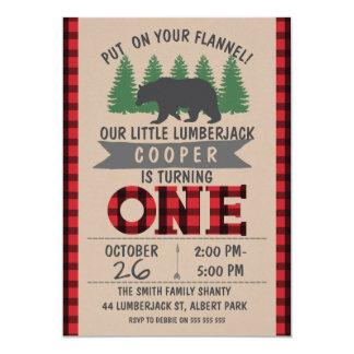 かわいいくまの樵の第1誕生日の招待状 カード