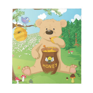 かわいいくまの食べ物の蜂蜜 ノートパッド
