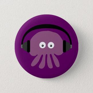 かわいいくらげ及びヘッドホーンのカスタマイズ可能な紫色 缶バッジ