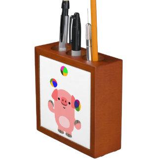 かわいいごまかす漫画のブタの机のオルガナイザー ペンスタンド