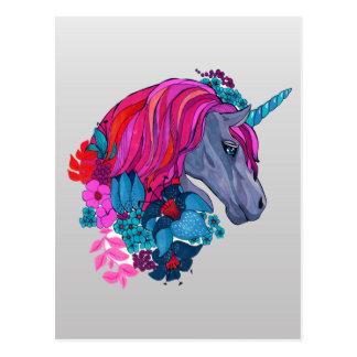 かわいいすみれ色の魔法のユニコーンのファンタジーのイラストレーション ポストカード