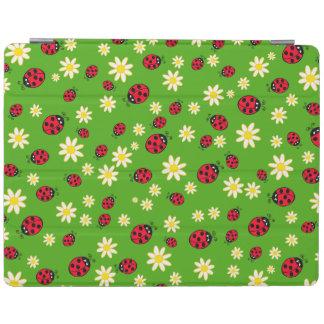 かわいいてんとう虫およびデイジーの花模様の緑 iPadスマートカバー