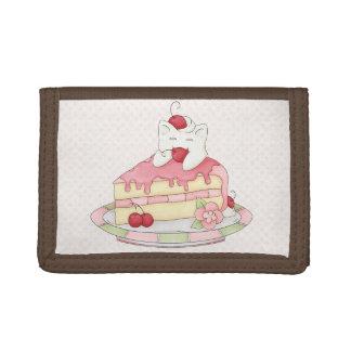 かわいいによって打たれるクリーム色の子猫及びさくらんぼのケーキ ナイロン三つ折りウォレット