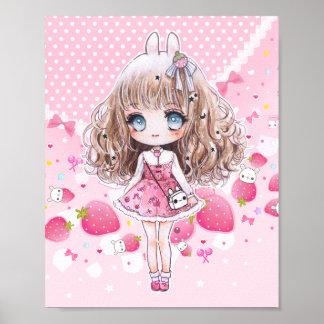 かわいいのいちごを持つかわいいチビ(小さくかわいく書いた感じ)の女の子 ポスター
