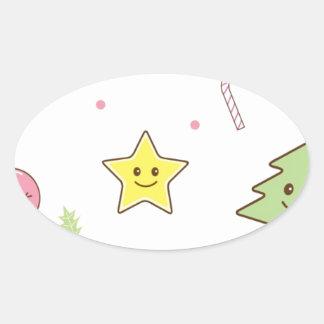 かわいいのかわいいクリスマスのデザイン 楕円形シール