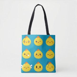 かわいいのかわいく小さいEmojiの顔文字のひよこ トートバッグ