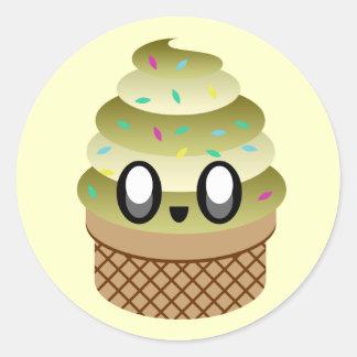 かわいいのアイスクリームのねじれチョコレートバニラは振りかけます ラウンドシール