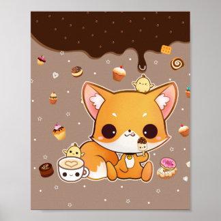 かわいいのアイスクリームを持つかわいいチビ(小さくかわいく書いた感じ)の孤 ポスター