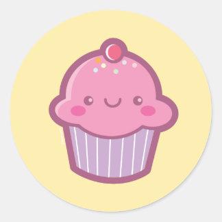 かわいいのカップケーキのステッカー 丸型シール