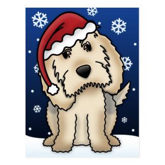 かわいいのカワウソ猟犬のクリスマスの郵便はがき ポストカード