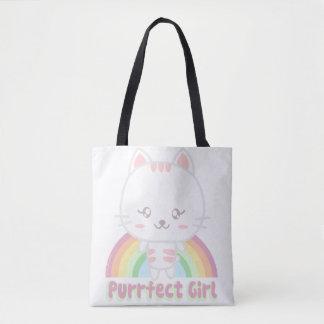 かわいいのガーリーな猫 トートバッグ