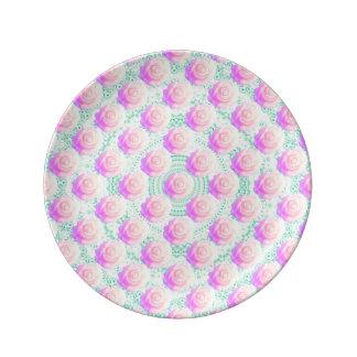 かわいいのグラデーションな真新しいビーズのDecodenのケーキのローズピンク 磁器プレート