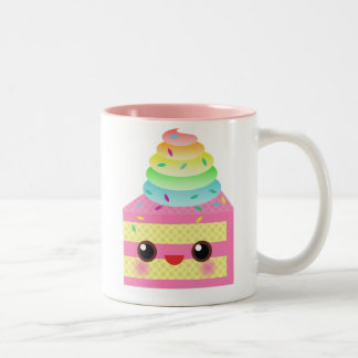かわいいのケーキのピンクの虹はおもしろいのデザートを振りかけます ツートーンマグカップ