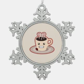 かわいいのコーヒー スノーフレークピューターオーナメント